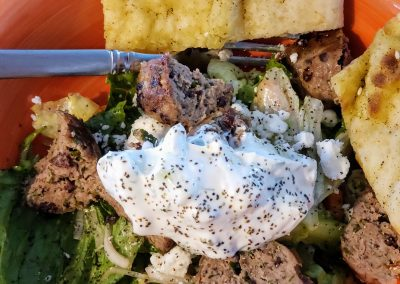 Greek meatball Salad with tzatziki